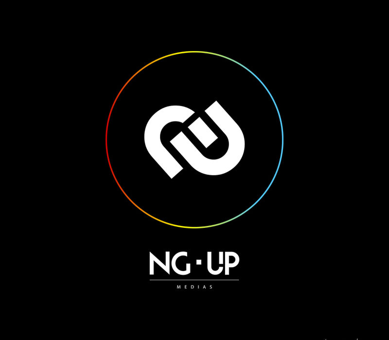 logo rond multi couleurs blanc